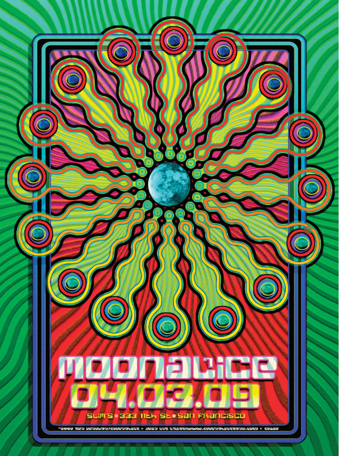 Moonalice 4/3/09 Slim's, San Fran­cisco, California concert poster by Ron Donovan