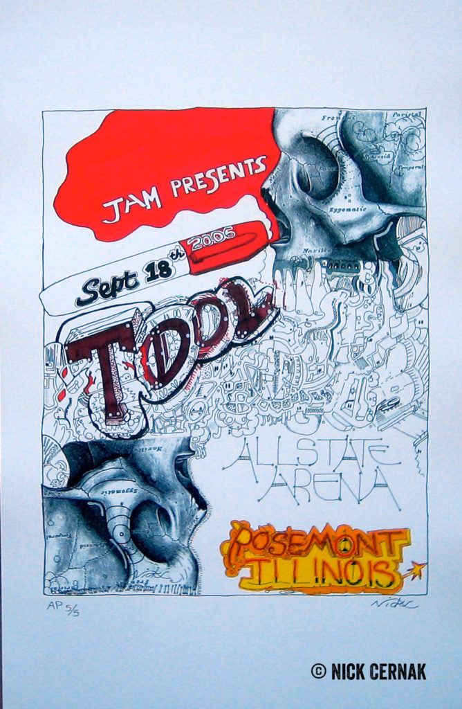 Allstate Arena, Rosemont, Illinois - September 18, 2006 Tool concert poster by Nick Cernak